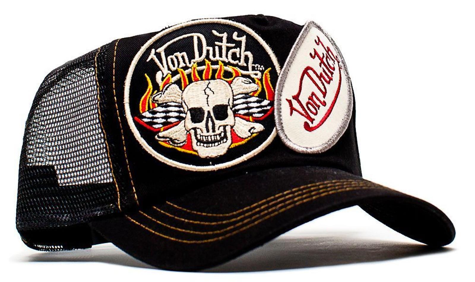Von Dutch - 2 Patch Skull Mesh Trucker Cap