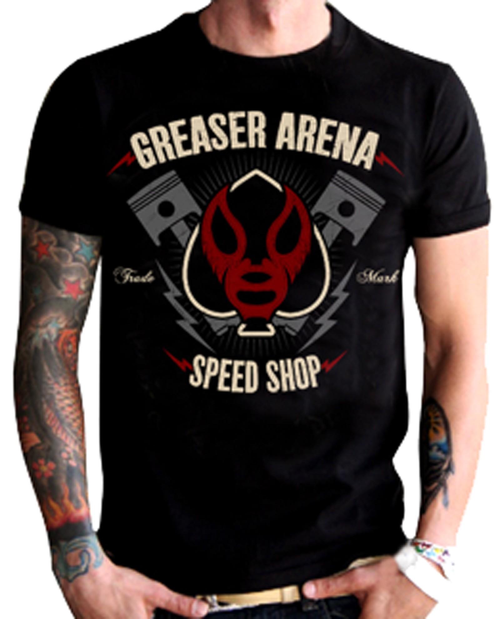 La Marca Del Diablo - Greaser Arena Speed Shop T-Shirt Front