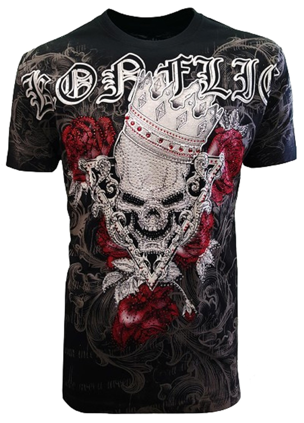 Konflic Clothing - Evil Skull Strass T-Shirt