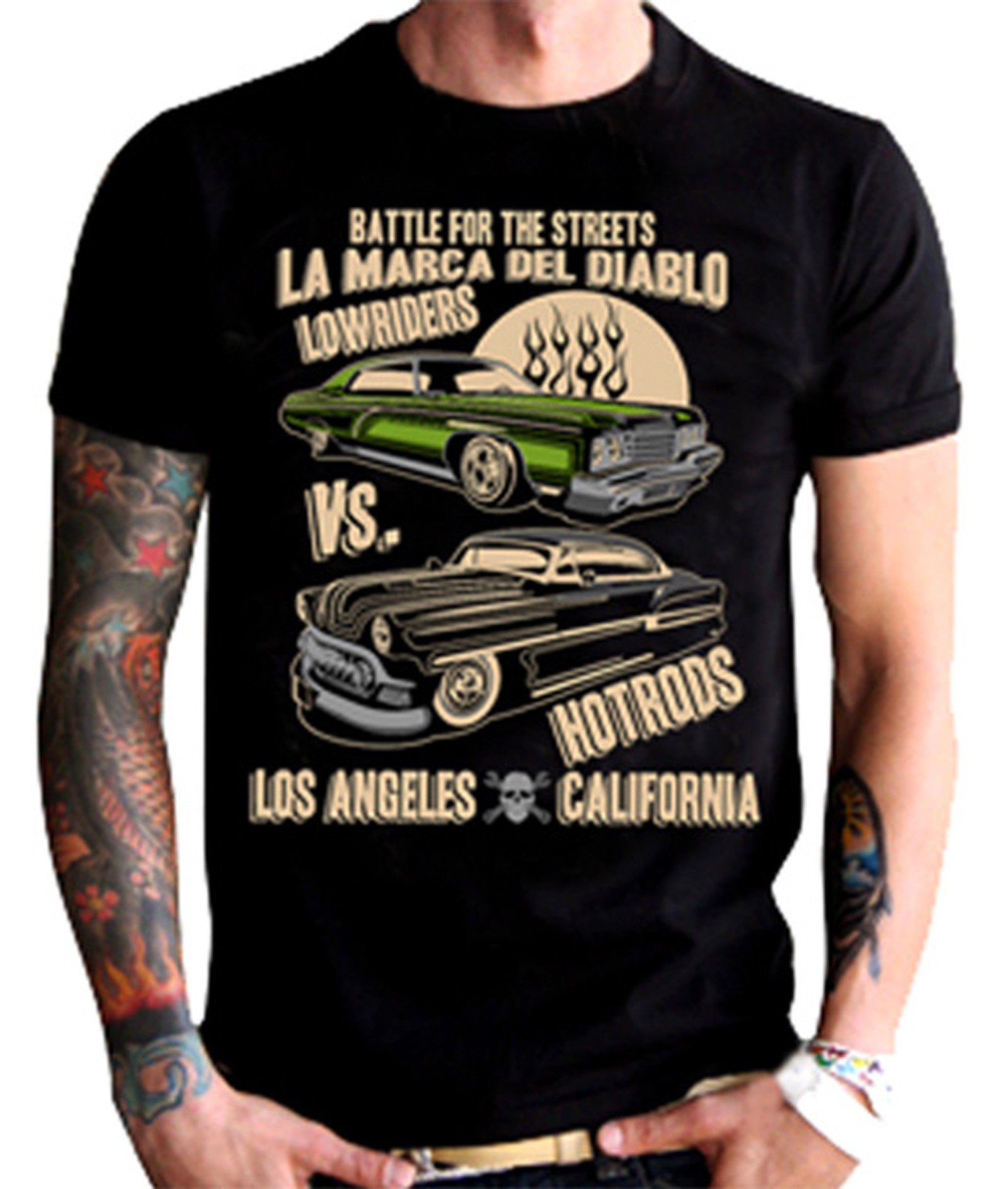 La Marca Del Diablo - Low Rides vs. Hot Rods T-Shirt Front