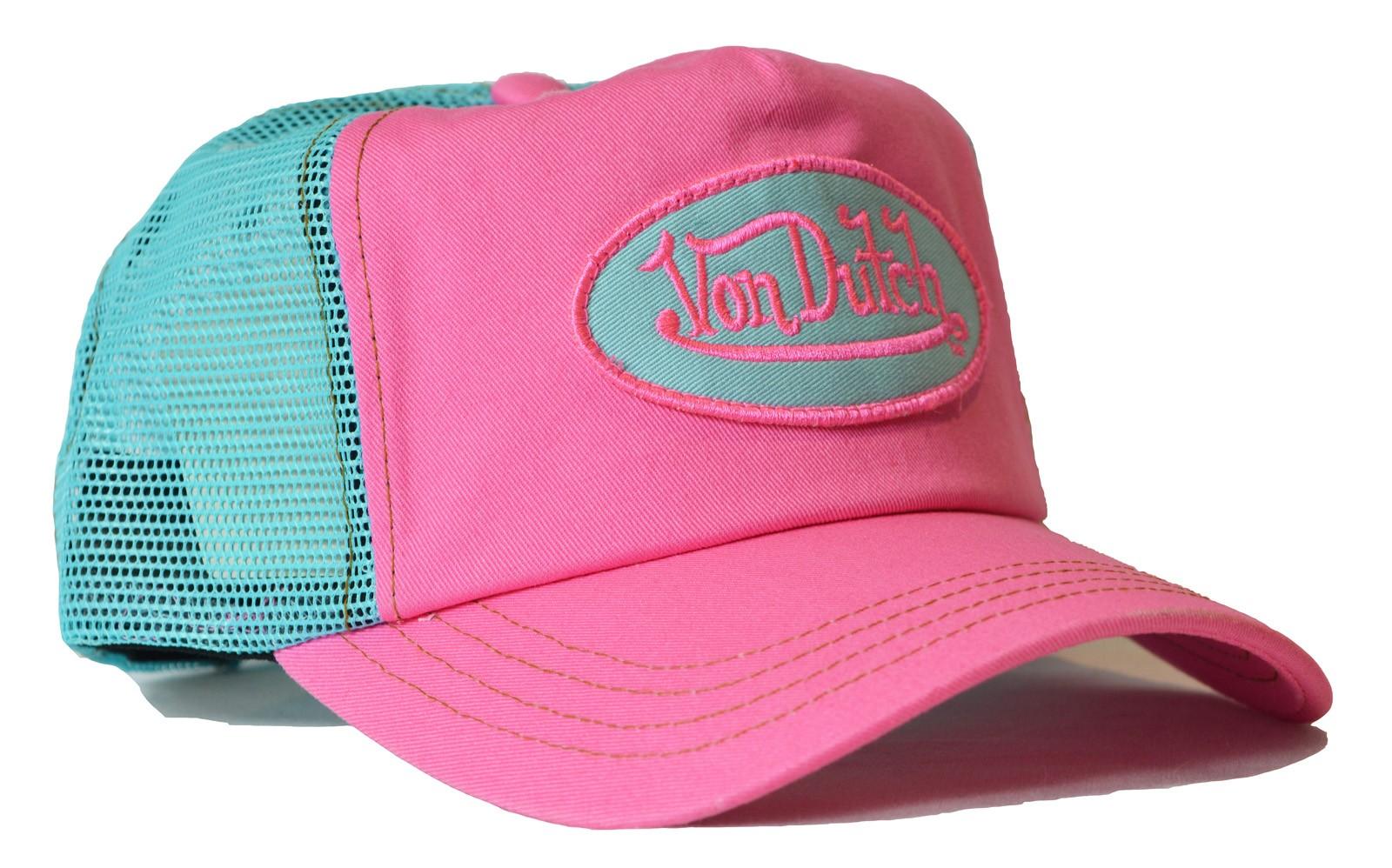 Von Dutch - Classic Pink/Aqua Mesh Trucker Cap