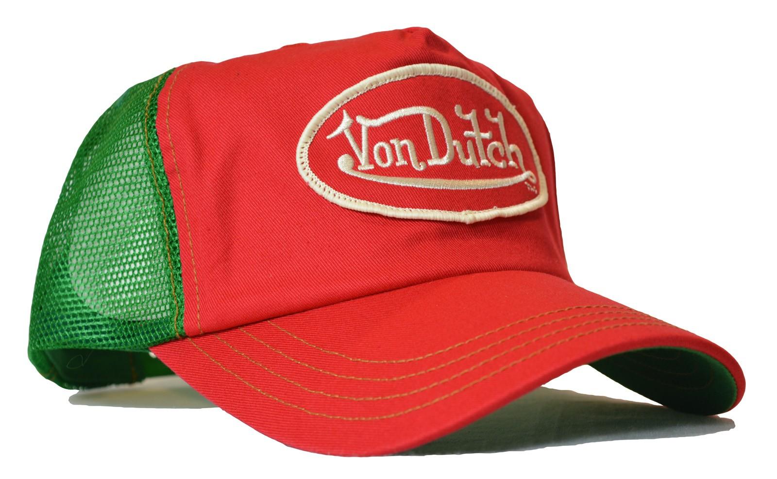 Von Dutch - Classic Red/Green Mesh Trucker Cap