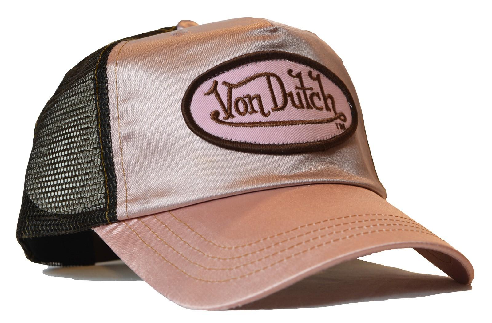 Von Dutch - Satin Rosa/Brown Mesh Trucker Cap