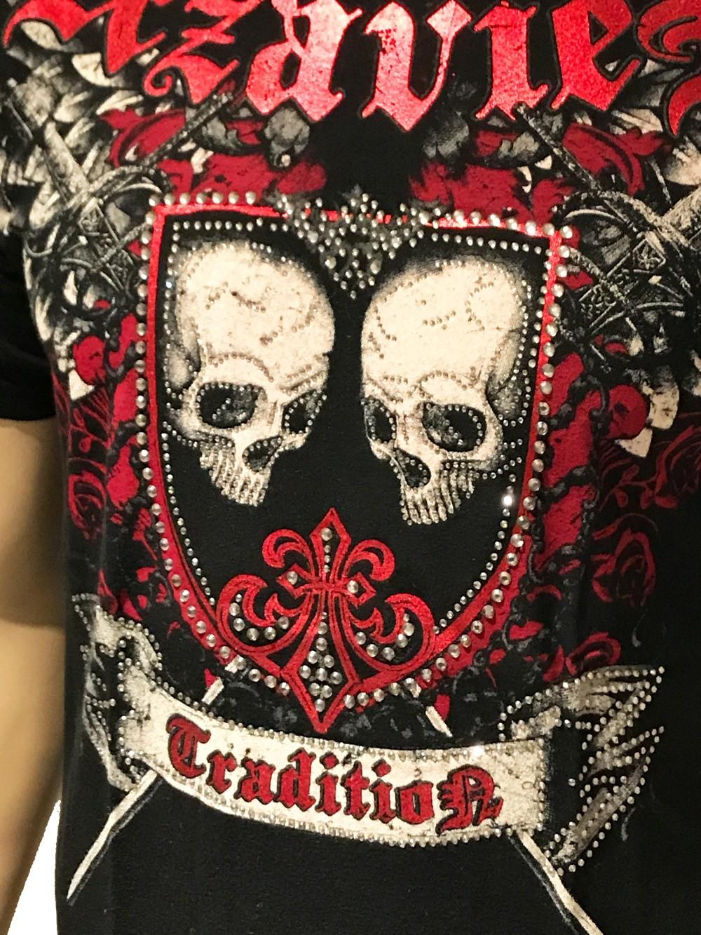 Xzavier - Skull Shield Rhinestones/Strass T-Shirt