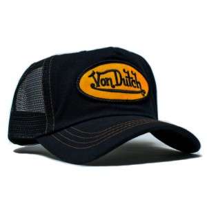 Von Dutch - Classic Black/Yellow Patch Mesh Trucker Cap