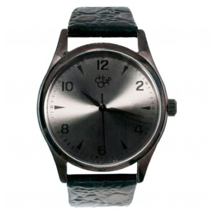 Cheapo Brand - Rodger Metal - Metal Dial Black Leather Strap Armbanduhr