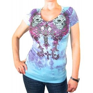 Angels & Diamonds - Dead Skulls Strass T-Shirt Front
