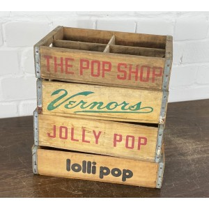 Original Soda Crate - The Pop Shop, Vernors, Jolly Pop & Lolli Pop Getränkekisten Set