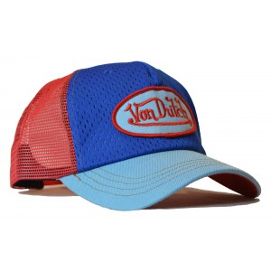 Von Dutch - Jersey Blue/Red Mesh Trucker Cap