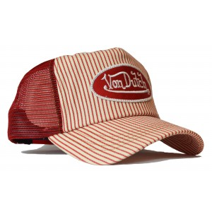 Von Dutch - Prison Stripe Red Mesh Trucker Cap