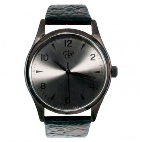 Cheapo Brand - Rodger Metal - Metal Dial Black Leather Strap Armbanduhr