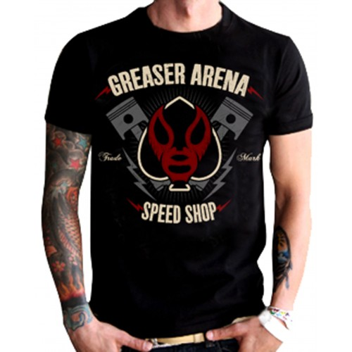 La Marca Del Diablo - Greaser Arena Speed Shop T-Shirt Front