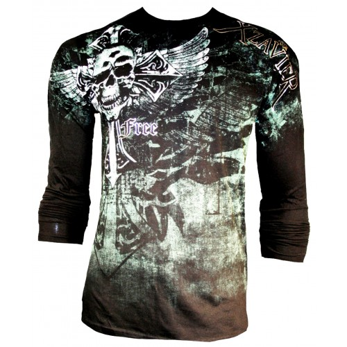 Xzavier - Iron Cross Skull Longsleeve T-Shirt Front