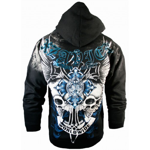 Xzavier Skull Cross Zipper Hoodie Back