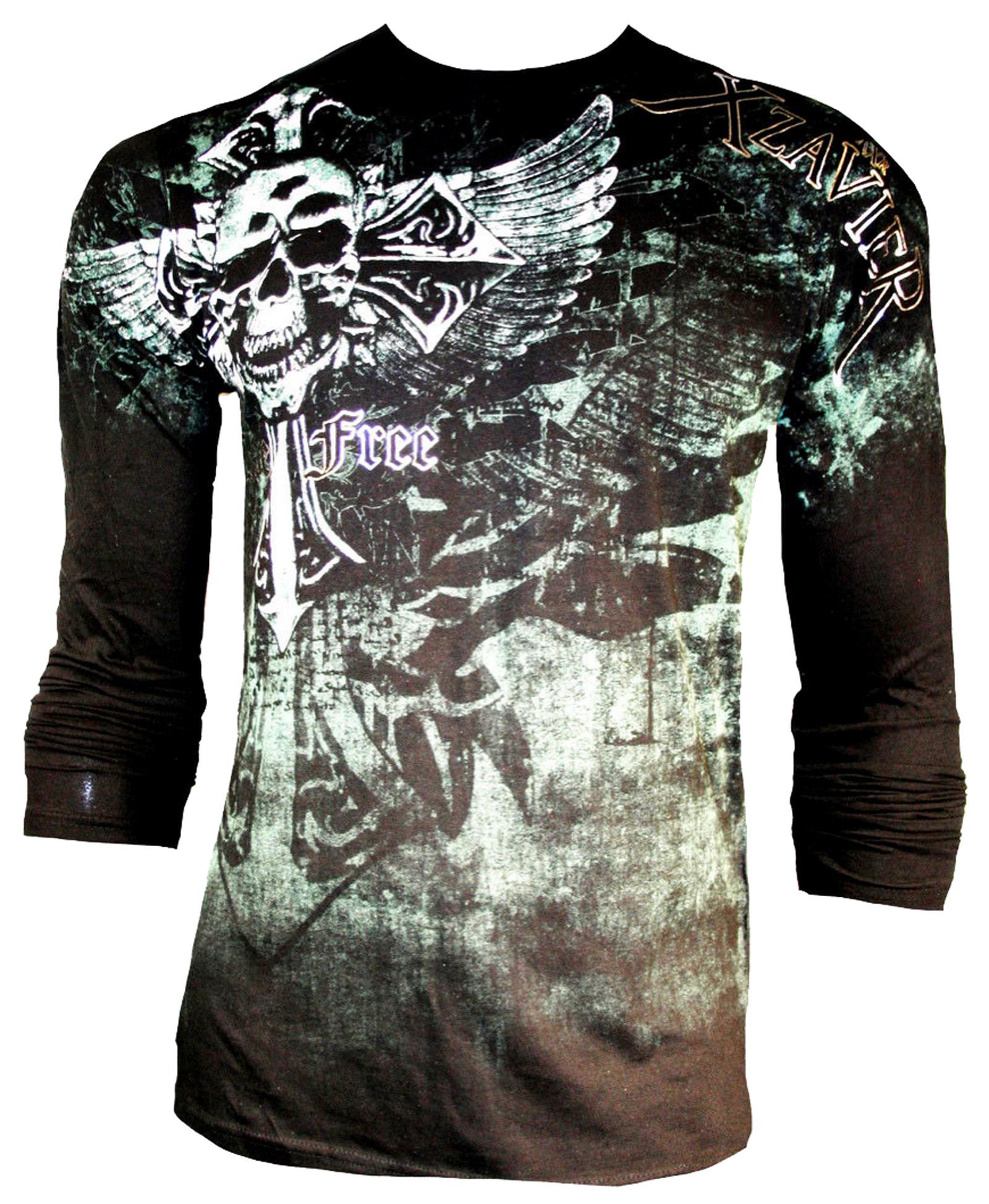Xzavier t-shirt Motard Harley rocker gothique tribal MMA wings L tradition skulls