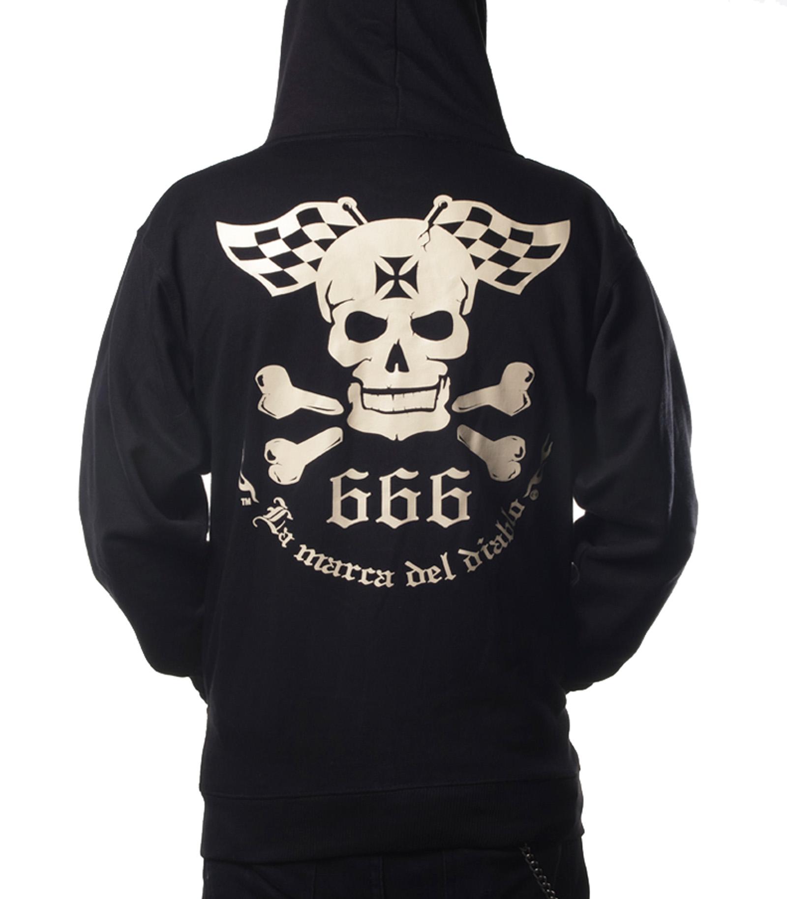 La Marca Del Diablo lmdd logo Skull Zipper Hoodie Maglione ROCKABILLY TATTOO INK